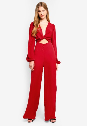 MISSGUIDED red Satin Twist Jumpsuit E4797AAB1C7890GS_1