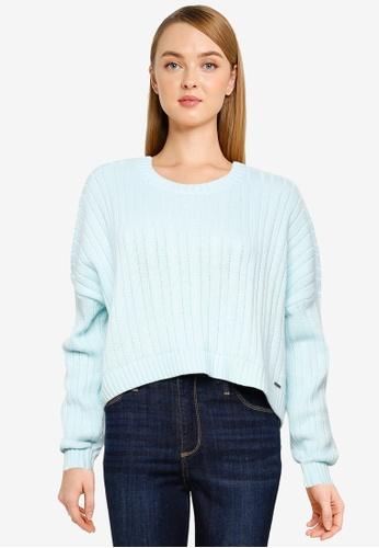 Hollister blue Rib Crew Sweater 99C94AAD7FCBE8GS_1