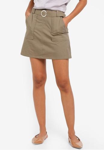 ZALORA BASICS green Basic Belted Mini Skirt C3092AA8B5197FGS_1