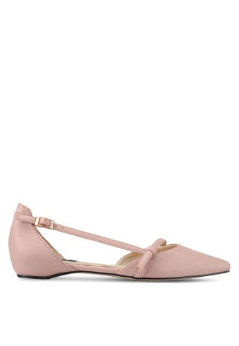 ZALORA pink Faux Leather Ballet Flats 192FASH71C41F6GS_1