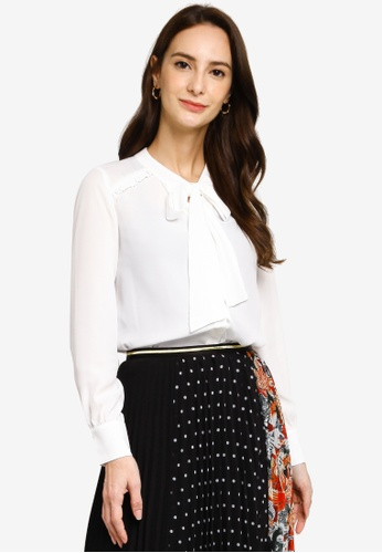 Hopeshow white Collar Ribbon Long Sleeve Button Blouse 04874AA37F6782GS_1