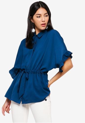 ZALORA blue Ruffles Sleeves Tunic Top A9E9DAA7C48961GS_1
