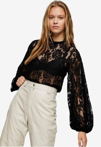 TOPSHOP black Black Volume Sleeve Lace Top 44CE7AA9E617BBGS_1