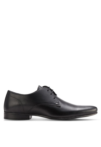 Topman black Black Leather Derby Shoes TO413SH11DMIMY_1