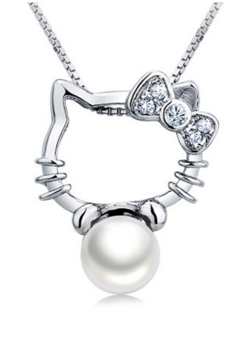YOUNIQ silver YOUNIQ Kitty Pearl 925 Sterling Necklace Pendant with Cubic Zirconia (Silver) YO999AC78DAZMY_1