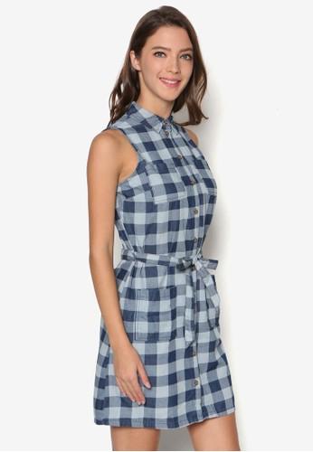 格紋無袖襯衫式洋裝、 服飾、 印花時代DorothyPerkins格紋無袖襯衫式洋裝最新折價