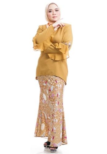 Ashura yellow Daila Kurung With Flare Sleeves AC7D6AA17D45D7GS_1