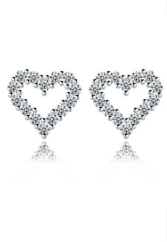 Vivere Rosse silver Vivere Rosse Dazzling Heart 925 Sterling Silver Stud Earrings VI014AC71HNOMY_1
