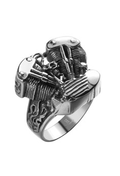 GMYR145-10 Punk Style Mechanical Storm Personality Titanium Stainless Steel Ring