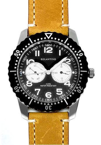EGLANTINE black and brown and silver EGLANTINE® Terrenz Unisex Steel Quartz Watch Black Dial on Light Brown Leather Strap D65D5AC0C61DA2GS_1