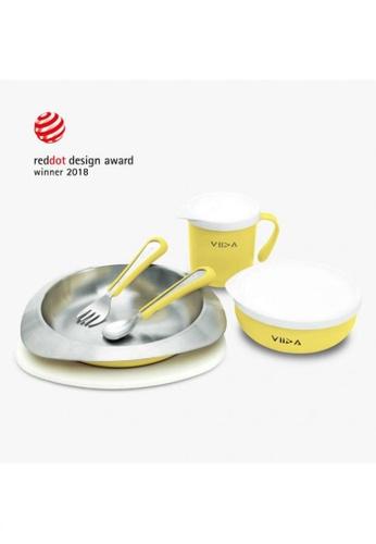 Viida [VIIDA] The Soufflé Kids Antibacterial Stainless Steel Tableware Set, Lemon Yellow - 2018 Red Dot Design Winner - Eco-Friendly, Safe, FDA Certified, SGS Tested 62E8EHL80819A7GS_1