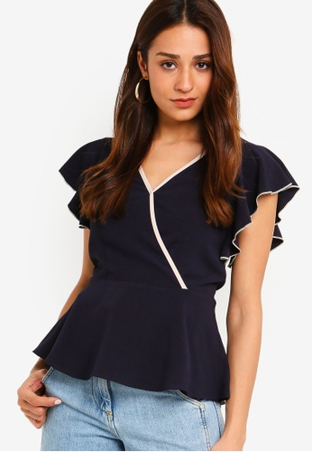 ZALORA multi and navy Ruffles Top C4FFBAAA30110DGS_1