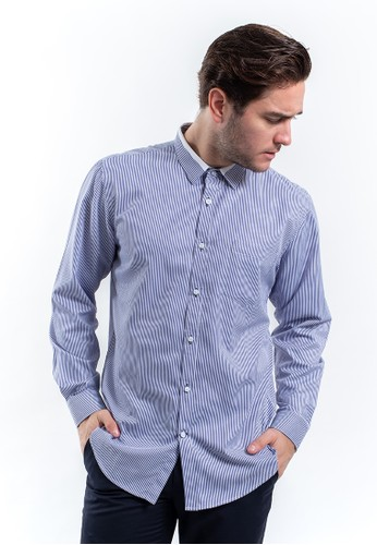 MANLY blue MANLY Kemeja Slim Fit Lansvale Blue EE50FAAEF4428AGS_1