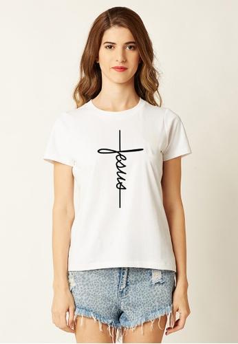 Greatvalueplus white Jesus Women's Round Neck Statement T-shirt 9CDDCAA3ADD10DGS_1