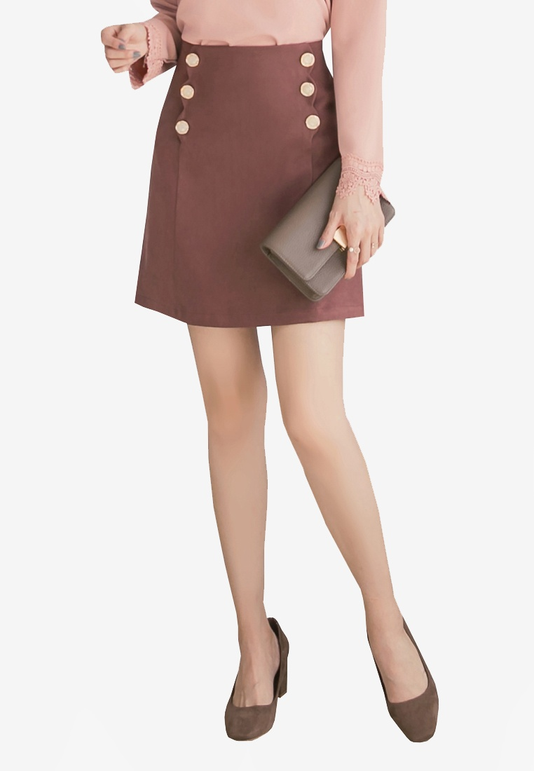 Yoco Double Skirt Buttoned Double Brown Buttoned Skirt Brown Yoco Yoco 4US4qarW