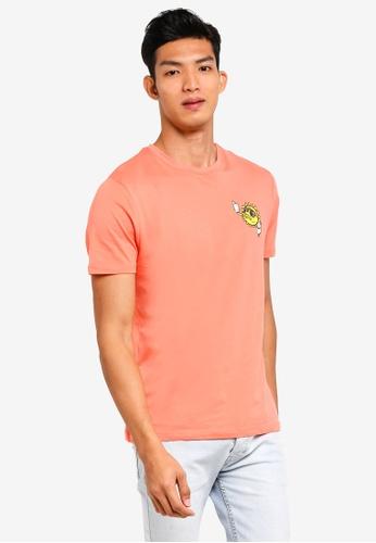 Topman 粉紅色 短袖印花T恤 C7EF4AA2AD5AEBGS_1