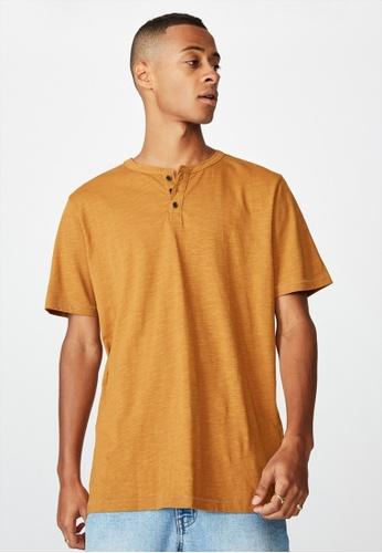 Cotton On beige Slub Henley T-Shirt CBEA0AA74E3609GS_1