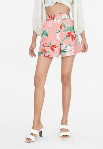 Pomelo pink Bold Floral Wide Belt Shorts - Pink 9F595AA221C961GS_1
