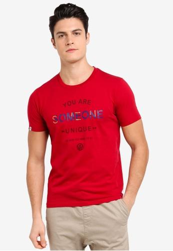 Volkswagen 紅色 短袖印花T恤 DFF1CAA0ABDC68GS_1