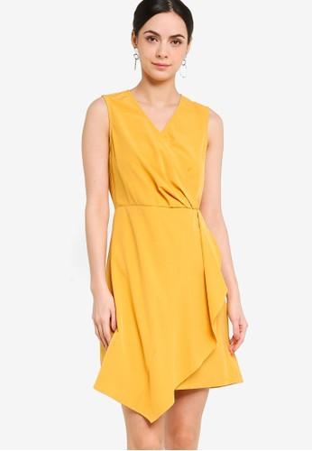 ZALORA WORK yellow Sleeveless Overlap Ruffle Knit Dress 28667AA71B82CBGS_1