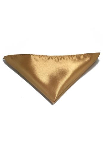 Splice Cufflinks Lustrous Series Gold Polyester Pocket Square SP744AC66KUBSG_1