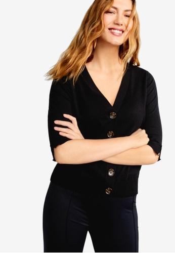 Violeta by MANGO black Plus Size Cotton-Blend Cardigan 56B8DAA92AB950GS_1
