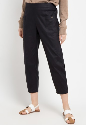 ZAHRA SIGNATURE black Longpant Cotton Linen B8C78AA9001D23GS_1