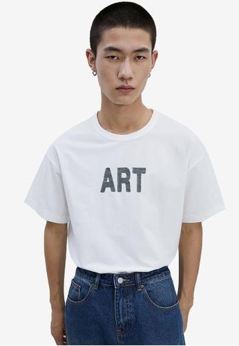 URBAN REVIVO white Art T-Shirt A6571AAE8A9DF2GS_1