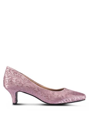 Berrybenka 紫色 刺繡高跟鞋 6A467SH042F293GS_1