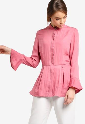 起褶束腰長袖上衣, 服飾, 女性服esprit hong kong 分店飾