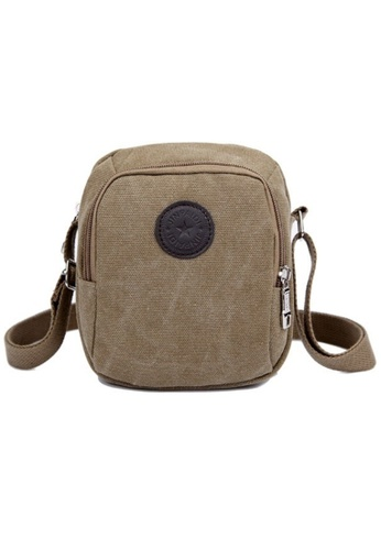 Jackbox brown Classic Design Canvas Shoulder Messenger Sling Bag 332 (Khaki) JA762AC35TEEMY_1