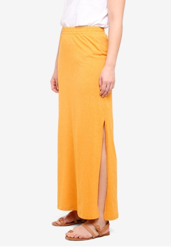 ICHI yellow Moto Slit Skirt 46581AA2AA6DE6GS_1