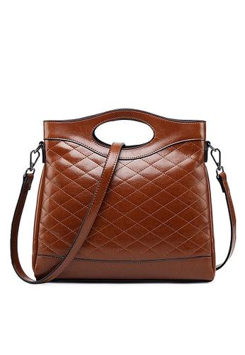 Twenty Eight Shoes brown VANSA  Rhombic  Burnished Cow Leather Hand Bag VBW-Hb6638 EEEFAAC5B0FABEGS_1