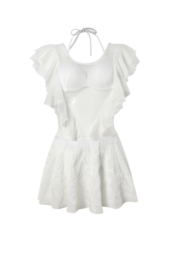 YG Fitness white Sexy Low V Gauze One-Piece Swimsuit B1E44US151A66EGS_1