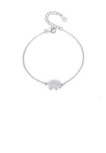 Glamorousky silver 925 Sterling Silver Simple Fashion Elephant Bracelet 657AFACE4BDC23GS_1