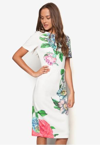 esprit outlet 桃園Eden 彩色花卉洋裝, 服飾, 洋裝