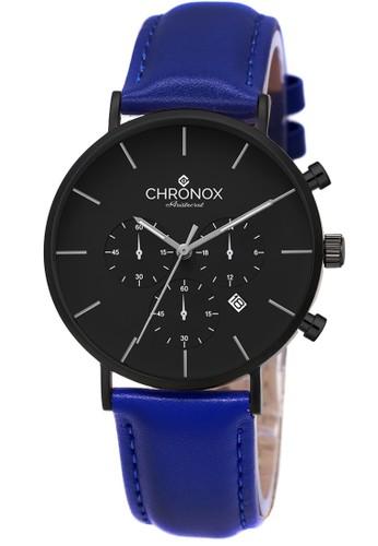 CHRONOX blue Chronox CX1006/A5 Hitam- Jam Tangan Pria - Tali Kulit Biru EBA03ACD4C2EDFGS_1