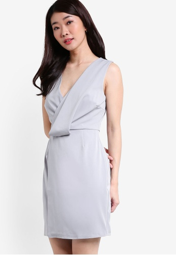 ZALORA grey Collection Drape Detail Dress 82967AAABF45D6GS_1