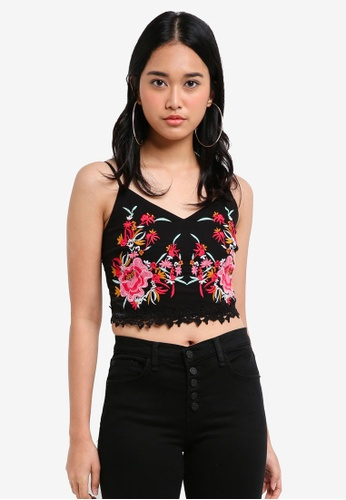 Miss Selfridge black Petite Black Embroidered Cami Top 850BAAAC0DD227GS_1