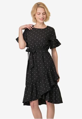 Kodz black Dot Print Waterfall Dress F47FDAAECBB495GS_1