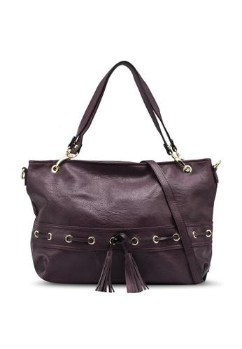Mel&Co red Faux Leather Drawstring Shopper Bag D158AAC499BD7CGS_1