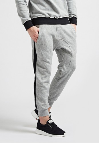 韓系街頭。輕薄細絨。拼接棉褲-07346-灰, esprit台灣outlet服飾, 直筒褲