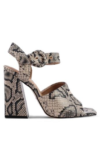 TOPSHOP beige Sahara Snake Heeled Sandals 639E3SH9F57D47GS_1