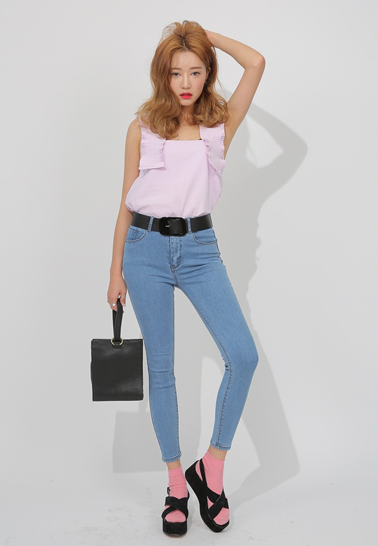 K Style Pleated Shoulder Strap Top