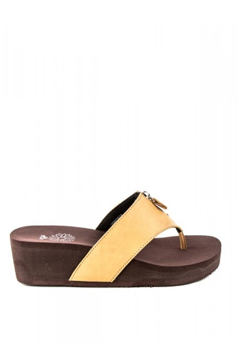 Otto brown and yellow Zipper Embellished Sandals 0AB66SH115658BGS_1