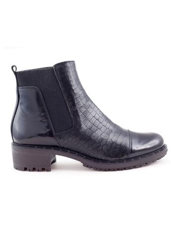 Shu Talk 黑色 型格壓紋牛皮女短靴 SH544SH09MSJTW_1