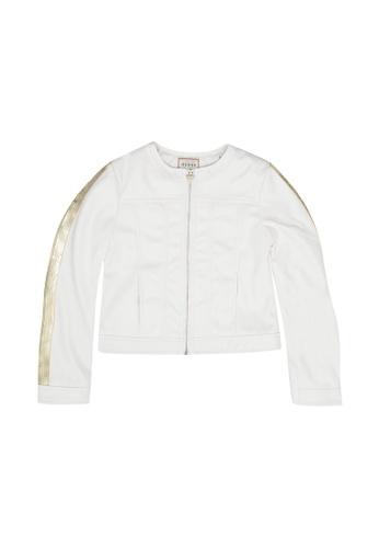 GUESS white Long Sleeve PU Leather Jacket 8DF67KA27AC04EGS_1