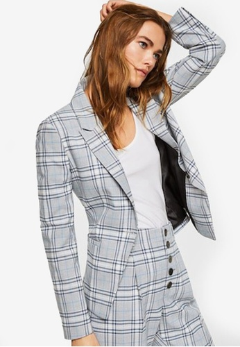 Mango blue Check Structured Blazer C0EECAA8852569GS_1