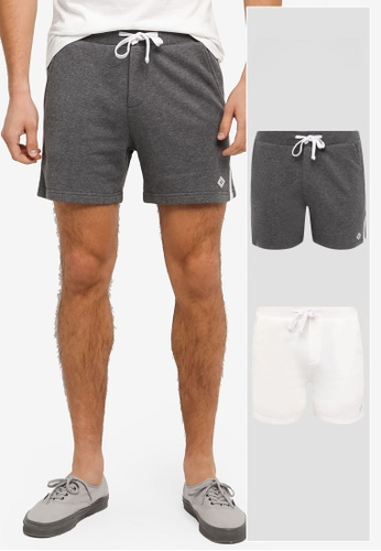 JAXON grey and white 2 PACK TERRY EASY SHORTS WITH SIDE TRIM JA219AA0T28MMY_1