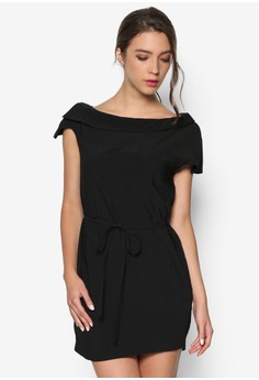 Off The Neck Shift Dress With Skinny Tie